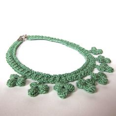 Sage Green Crochet Necklace by KnittingGuru, $48.00