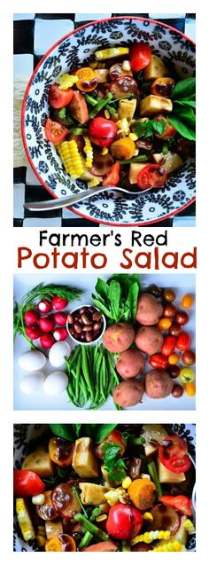 Farmer's Red Potato Salad | ReluctantEntertainer #FathersDay #FourthofJuly Healthy Salad Recipes, Veggie Recipes, Real Food Recipes, Vegetarian Recipes, Salad Bar, Soup And Salad, Potato Dishes, Potlucks, Four