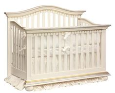 Royalty Crib with appliqued moulding in Antico White with silver and gold gilding  #crib #royalty #baby #afk #georgiababy #atlanta #furniture