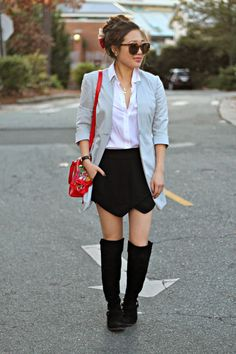 { black + white outfit with a pop of red }