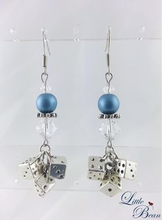 Bunco Dangle Earrings in Blue Satin Glass Pearl and Clear Swarovski Crystal $24.50