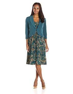 Maya Brooke Women's Printed Dress with Gathered Waist and Shawl...