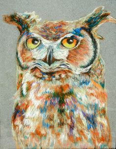 'Owl Pastel' by Kristina Bjornson  Great inspiration for stained glass project....