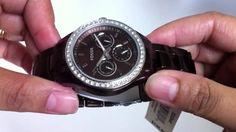 Women's Brown Aluminum Fossil Stella Boyfriend Watch ES2949