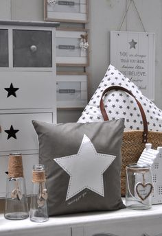 Shining For You | Stars | Grey | Romantic | Interior | Cushion | Pillow | White | Wood