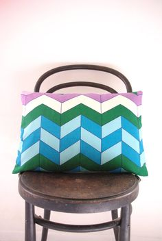 ICEHOUSE - cushion cover limited edition vintage chevron throw pillow