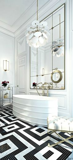 Important Elements of the Bathroom Interior Decorating : Black and White Bathroom Floor design picture. Black and white bathroom floor design picture. Bathroom Inspiration, Bathroom Decor, Interior, Bathrooms Remodel, Beautiful Bathrooms, Luxury Bathroom, Art Deco Bathroom, Home Decor, French Apartment