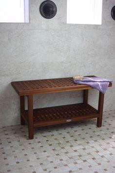 """Aqua Teak - The Original 36"""" Grate Teak Shower Bench with Shelf, $249.95 (http://www.aquateak.com/shower-benches-stools-by-size/the-original-36-grate-teak-shower-bench-with-shelf/)"""