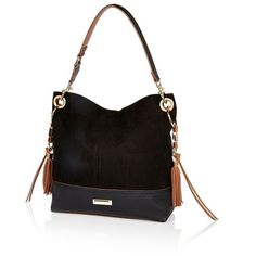 River Island Black Tassel Side Slouchy Handbag 64 Liked On Polyvore Featuring Bags