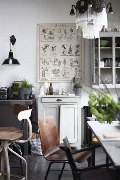Virginie Denny & Alfonso Valles Loft - Paris || Petra Bindel. Cette planche affichée au mur et les quelques plantes: le détail qui change tout!