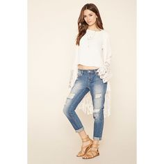 Love 21 Women's  Contemporary Distressed Jeans ($28) ❤ liked on Polyvore featuring jeans, distressing jeans, destroyed jeans, ripped jeans, torn jeans and distressed jeans