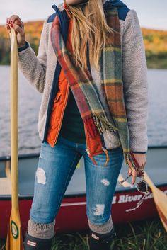 Gal Meets Glam Morning Canoe On Blueberry Lake - Penfield jacket, J.Crew vest, J.Crew turtleneck, Current Elliott jeans, Hunter boots & Cable socks