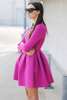 Long Sleeve Slim Dress with Skater Skirt in Peach  