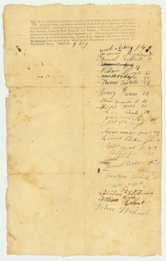 Groton Massachusetts Revolutionary War muster roll. Signed July 9, 1776. Some of the men who signed the roll had fought at Lexington & Concord.