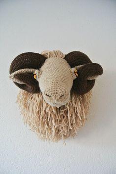 Vanessa Mooncie Ram animal heads trophy heads to chrochet