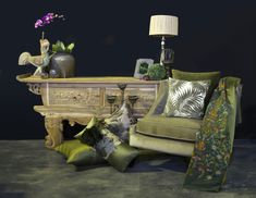 #greendecor #neutralcolours #decoratingideas #rawwood #luxuryfabrics Green Furniture, Furniture Design, Custom Made Curtains, Natural Interior, Green Rooms, Raw Wood, Wingback Chair, Decorative Items, Upholstery