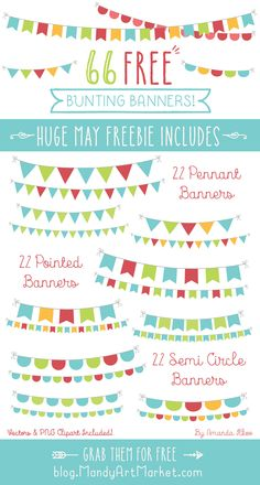 Free Bunting Clipart! Includes 66 Free Bunting Banner Vectors & PNG's.