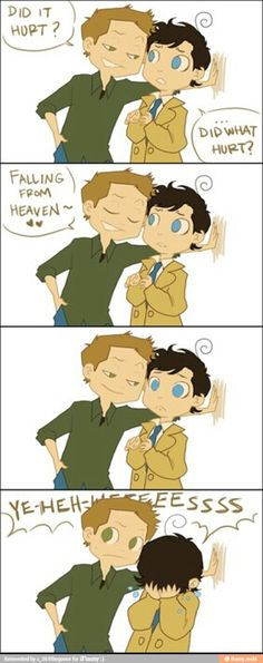 Supernatural humor. Poor Cas. I don't ship Destiel, but this was funny