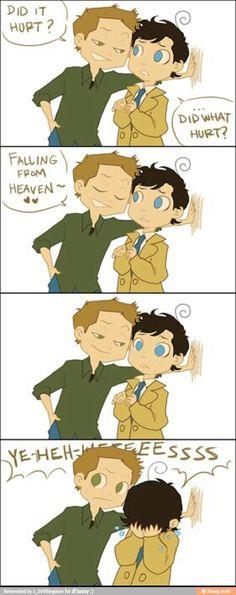 Supernatural humor. Poor Cas.