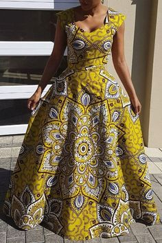 Ankara Print Floor-Length A-Line Dress(Without Crinoline)