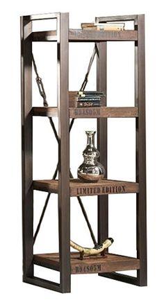 ETAGERE 3 TABLETTES : Étagères avec 3 tablettes, fait avec du bois de plancher recyclé et du métal.
