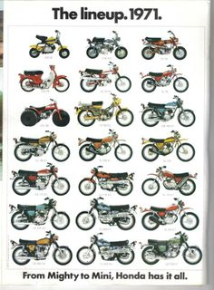 1971 - The Honda Motorcycle Lineup - From Mighty To Mini!