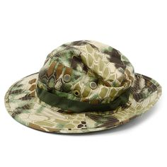 Camouflage Snake Skin Style Foldable Tactical Boonie Hat Wargame Sports Mountaineer Men Fishing Military Outdoor Activities Jungle Cap Green