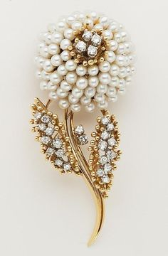 Pearl and Diamond Brooch: