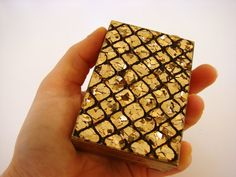 Evening Clutch Powder Case Gold and Black by GrayTabbyCat on Etsy, $25.00