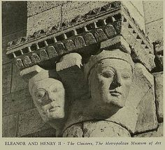 Eleanor of Aquitaine and Henry II Plantagenet, The Cloisters, New York Uk History, British History, Eleanor Of Aquitaine, Medieval, Plantagenet, The Cloisters, Dark Ages, Coat Of Arms, Ancestry