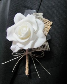Boutonniere Burlap & Lace  Rustic Vintage  by SilverStarfishDesign,