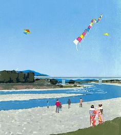 #sky #newyear #river #woman #girl #lady #kimono #kite #people #life #lifestyle #happy #love #cute #イラスト #イラストレーション #凧揚げ #着物 #illustration #illustrator