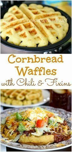 Waffles with Chili & Fixins'. What a unique and fun way to have Chili! This would be a great game night dinner.Cornbread Waffles with Chili & Fixins'. What a unique and fun way to have Chili! This would be a great game night dinner. I Love Food, Good Food, Yummy Food, Tasty, Mexican Food Recipes, Beef Recipes, Recipies, Leftover Chili Recipes, Drink Recipes