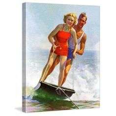 Marmont Hill Ski Boarding Couple by Robert C. Kauffmann Painting Print on Canvas, Size: 40 inch x 52 inch, Multicolor