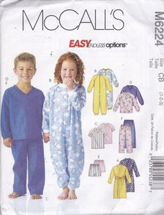 McCalls 6224 Vintage Pattern Toddler Pajamas by AlwaysFeelingHappy