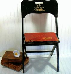 Antique Black Lacquer Wooden Folding Chair for by DivineOrders, $78.00