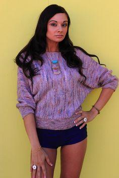 1980's Vintage Lilac Dolman Open Knit Sweater