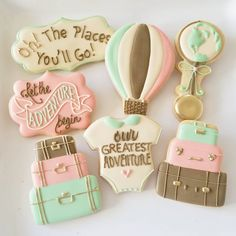 "34 Likes, 1 Comments - Jill Wagner (@customcookiesbyjill) on Instagram: ""#ourgreatestadventure #lettheadventurebegin #travelbaby #customcookies #customcookies…"""