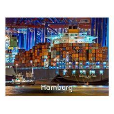 Hamburg port Germany  photo Postcard - postcard post card postcards unique diy cyo customize personalize