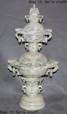 "29"" China Chinese Natural Green Jade Dragon Beast Statue incense Burner Censer"