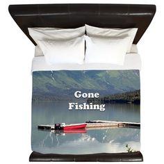 Gone Fishing: Trail Lake, Alaska King Duvet on CafePress.com
