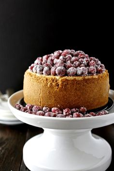 Cranberry eggnog cheesecake is bright and tart, spicy and flavorful. Good golly, it's good.