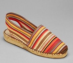 Red stripes Catalina espadrilles low wedge heel sewn in brown
