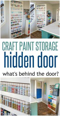 Craft Paint Storage Hidden Door   Cold Do More Shelves (have Paints In Back,