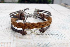 Hipster jewelrybrown leather braceletsanchor by goodlucky on Etsy, $7.99