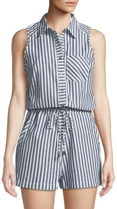 Shop Striped Cotton Shirting Romper from Dex at Neiman Marcus Last Call, where you'll save as much as on designer fashions. Modest Fashion, Fashion Dresses, Vetement Fashion, Elegant Outfit, Look Chic, Sewing Clothes, Chic Outfits, Summer Outfits, Winter Outfits