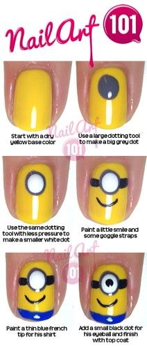15 Minion Nails That Are Anything But Despicable – Style and Designs 15 Minion Nails That Are Anything But Despicable 10 Easy Step by Step Minion Nail Art Tutorials For Beginners & Learners 2015 Nail Art Diy, Easy Nail Art, Cool Nail Art, Easy Art, Trendy Nails, Cute Nails, Minion Nail Art, Nail Art For Kids, Kid Nail Art