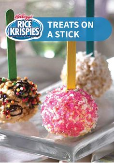 Rice Krispies Treats on a Stick -- You and your kids can personalize these treats, use your favorite candies, toppings and coatings for a fun dessert.