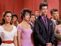 Natalie with Rita Moreno and George Chakiris in West Side Story Disney Channel, Female Actresses, Actors & Actresses, Statues, West Side Story 1961, George Chakiris, Rita Moreno, People Fall In Love, Interesting Faces