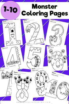 1-10 Monster Coloring Pages: Numbers have never been so fun! Encourage an interest in numbers with our fabulously fun monster coloring pages. Perfect for preschoolers and school early years, these coloring pages can be used in the classroom or at home to support learning - or just for a bit of a fun. Halloween Coloring Pages for Kids | Kids Printables | Preschool Number Activities | Halloween Preschool Activities | Educational Printables for Kids | Halloween Crafts for Kids #ColoringPages